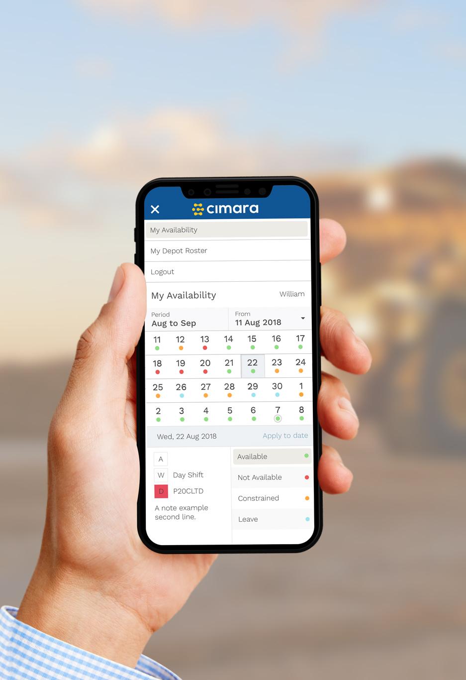 Cimara availability calendar, by 372 Digital