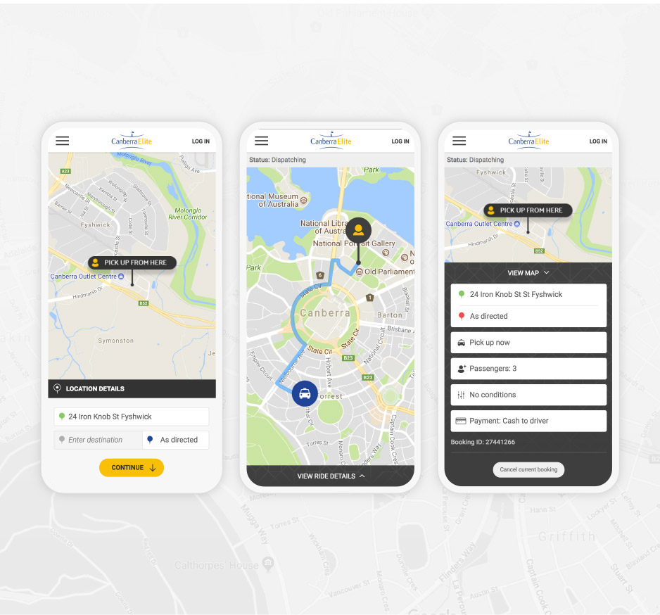 Image of 3 smart phones showing the Canberra Elite booking application location pick up page, taxi tracker function and pick up details page