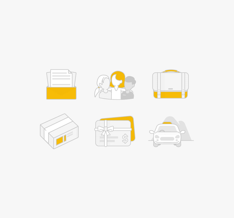 Set of icons for Canberra Elite Taxi website showing documents, group of people, a briefcase, parcel, letters and a taxi