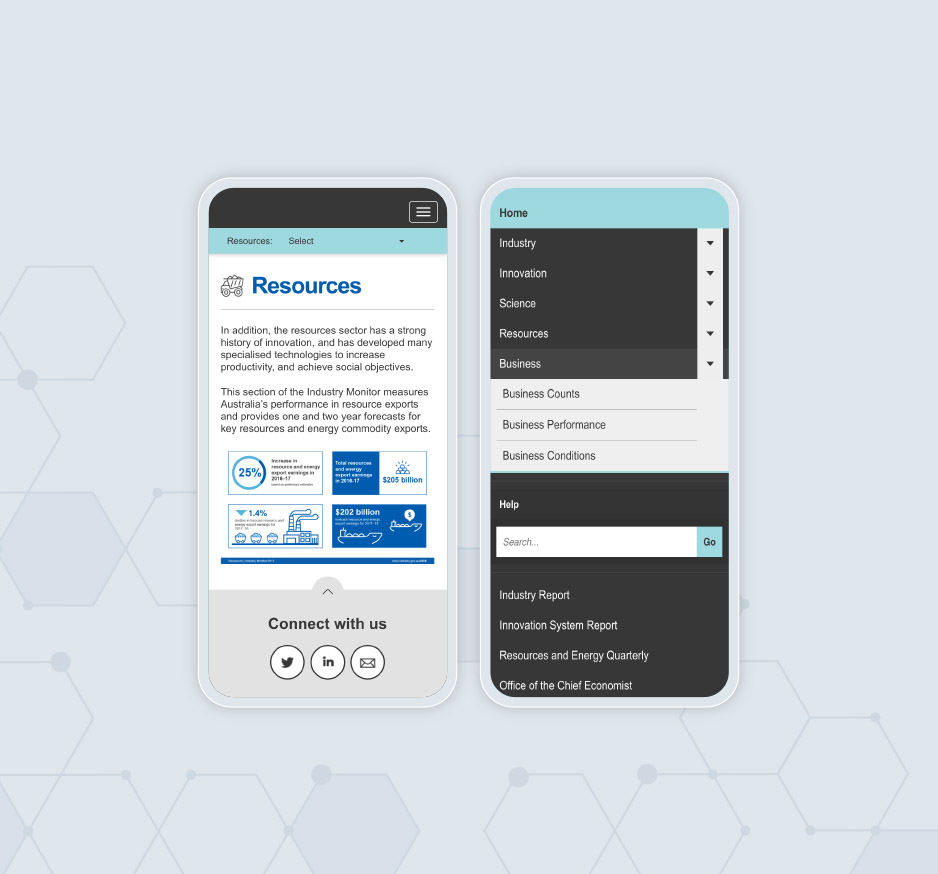 Image of 2 side by side mobile phones showing the Office of the Chief Economist website showing the resources page with infographics and drop down menu options