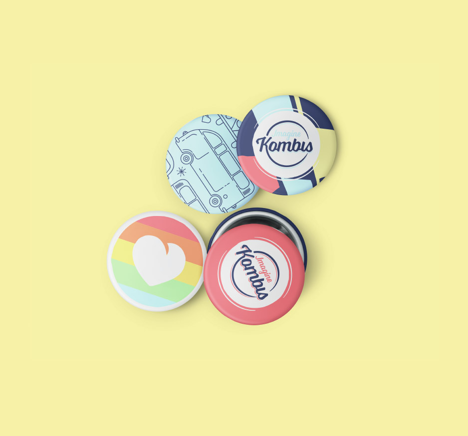 Image of imagine Kombis pin buttons showing the logo, kombi illustration and a supporting marriage equality heart