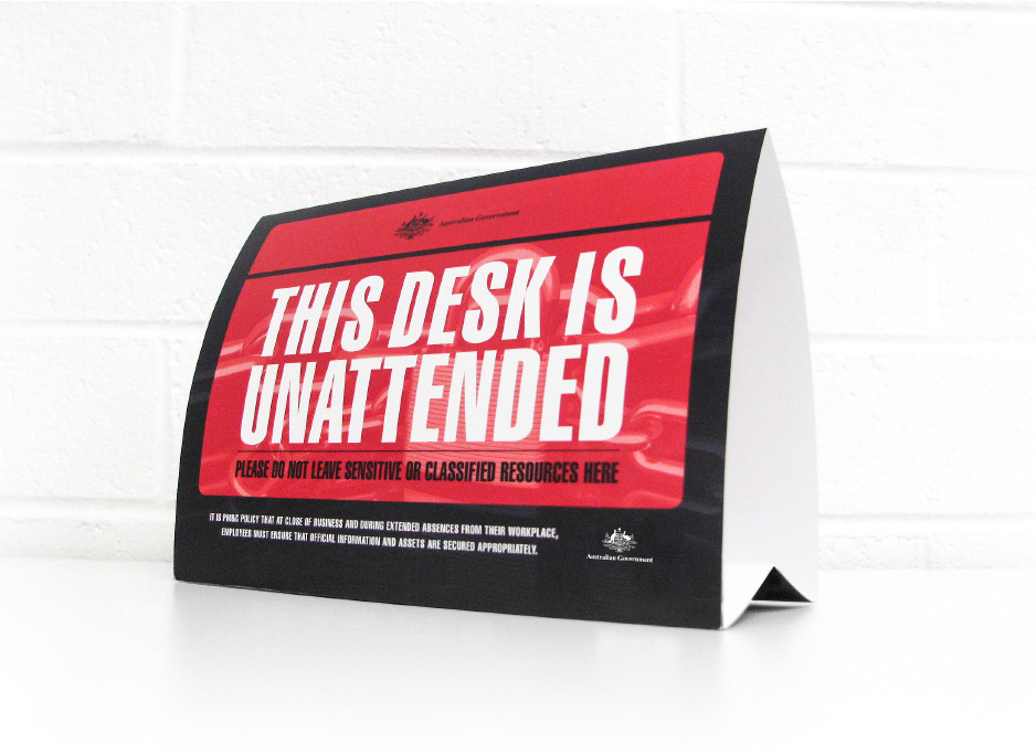 Department of the Prime Minister and Cabinet, security desk signage designed by 372 Digital