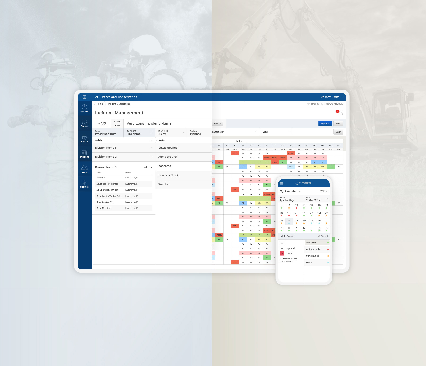 Image of a tablet device showing Cimara application incident management view as well as monthly rostering view with a phone showing the mobile view of the Cimara availability calendar