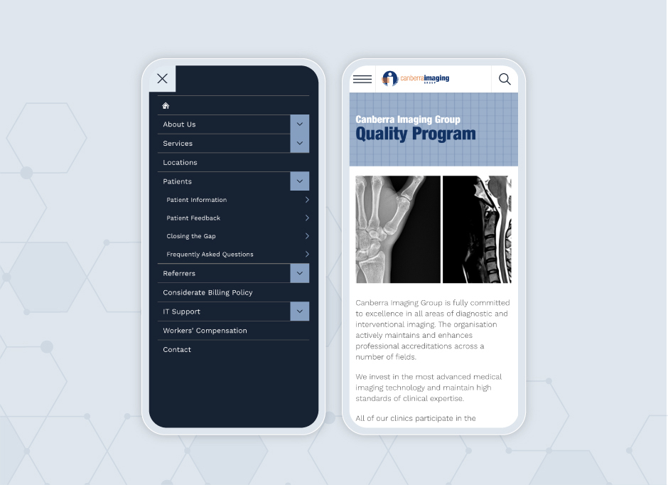 Two mobile applications of the Canberra Imaging Group website. The left one is of the main menu, the right displays the Quality Program page.