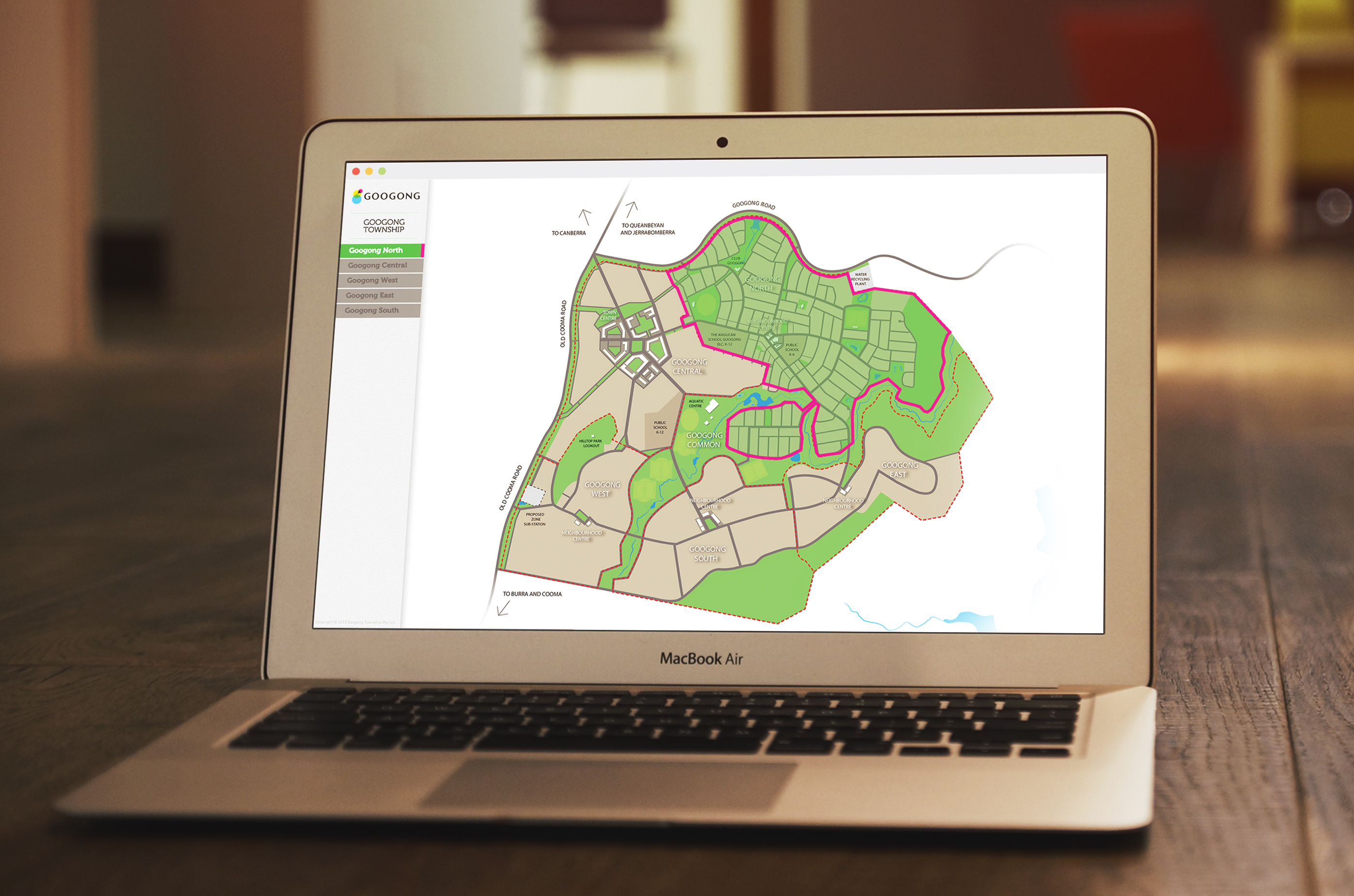 Googong Master plan map opened on an MacBook Air, detailing the open slots for sale.