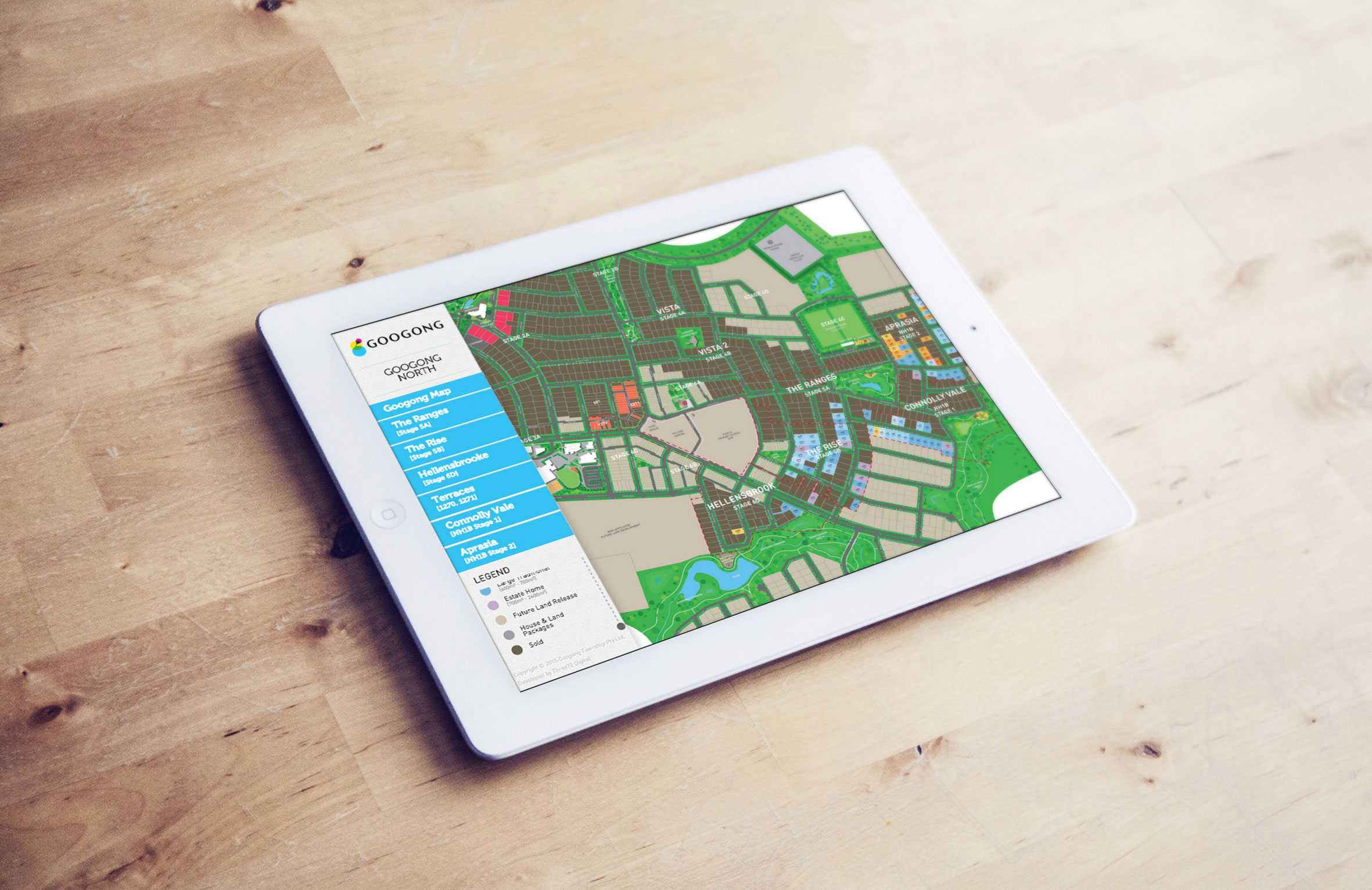 Googong North master plan, opened on an iPad, with the available lots for sale.