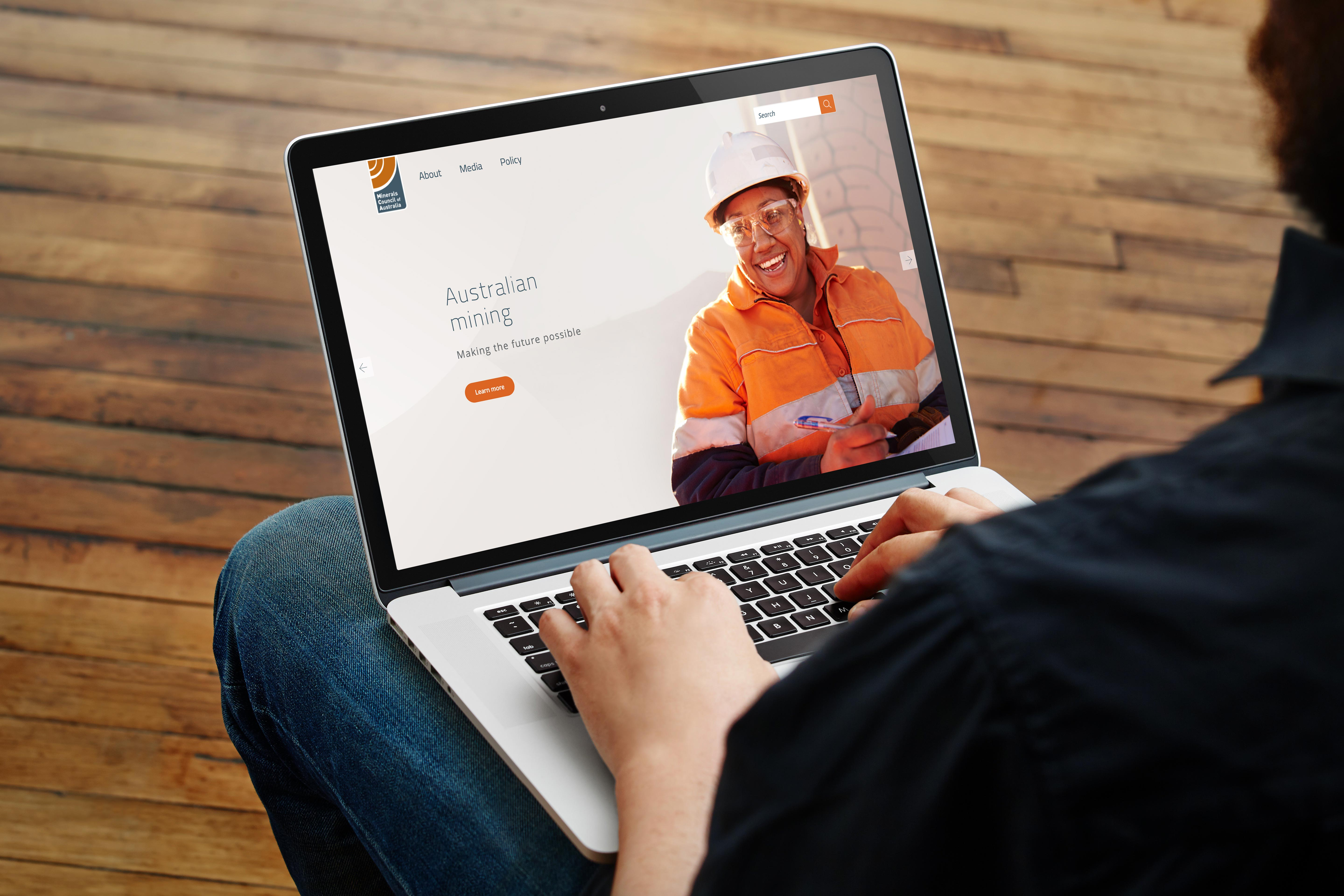 Minerals Council of Australia homepage on a laptop.