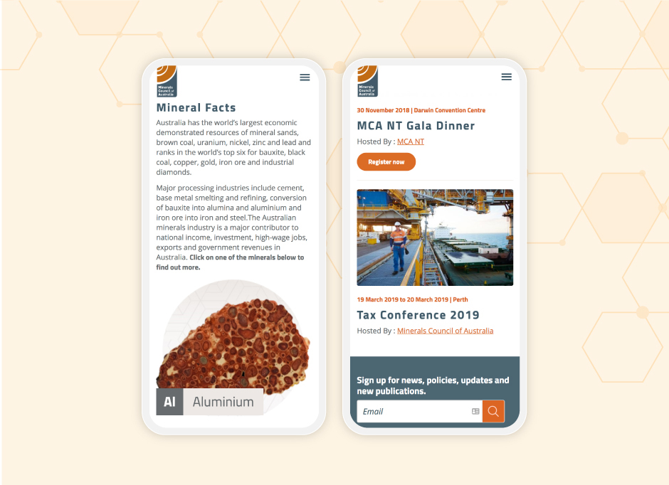 Two examples of the Minerals Council of Australia website on mobile. The left shows a page detailing Mineral Facts, the right shows the events page for the MCA NT Gala Dinner.