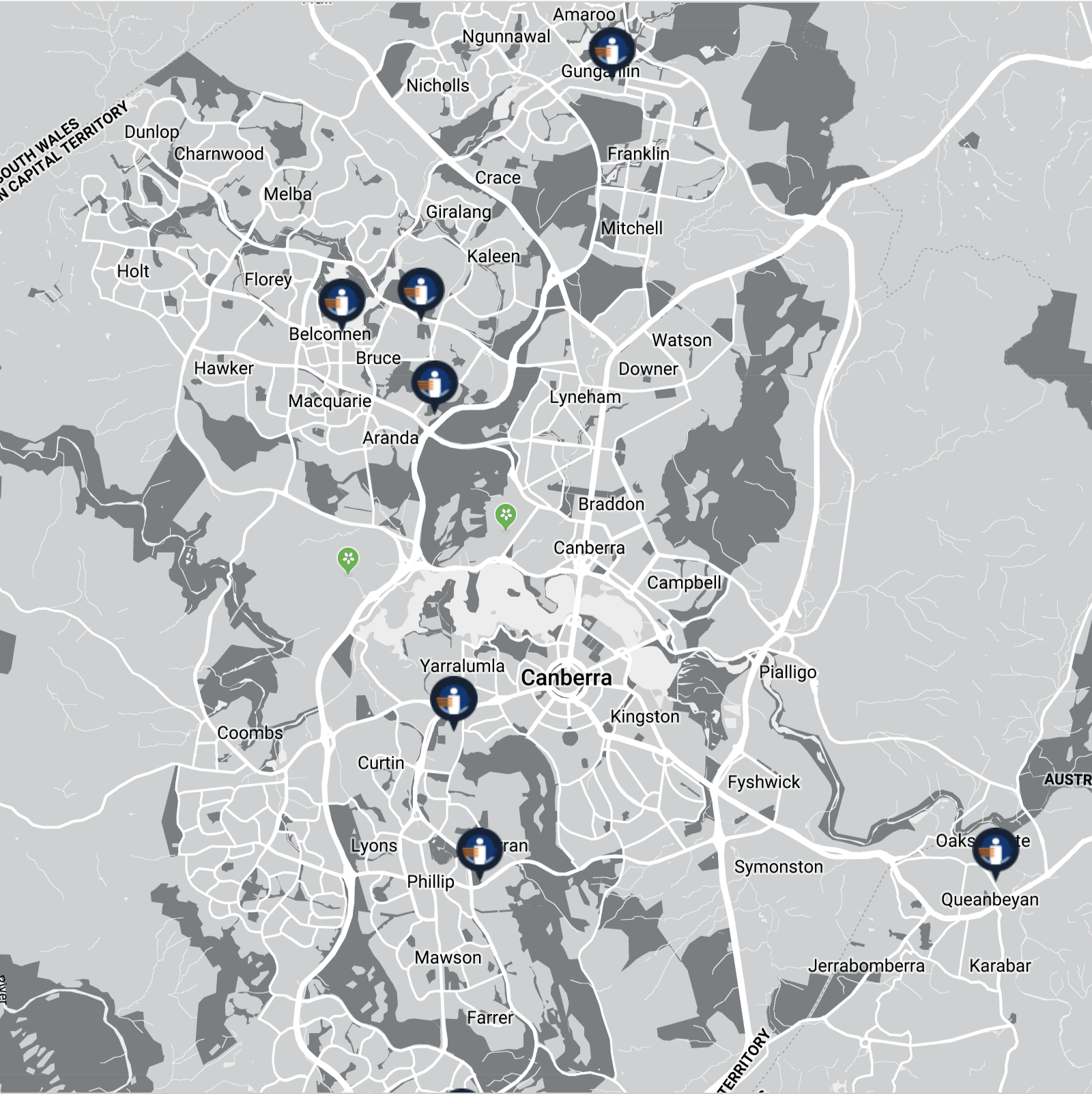 Map showing the locations of Canberra Imaging Group centres in the ACT.