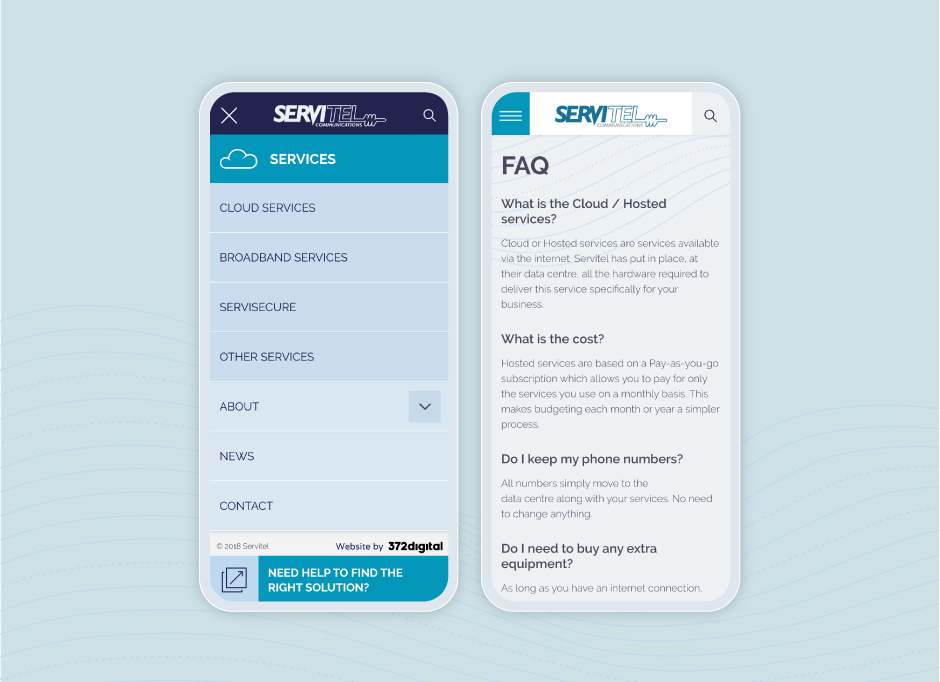 Two mobile examples of the Servitel Communications website. The left shows the Services menu, the right the FAQs page.