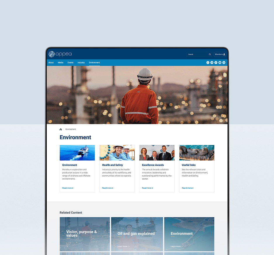 Australian Petroleum Production and Exploration Association desktop website